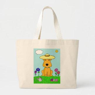 Airedale-Terrier-Hund in der Garten-Taschen-Tasche Jumbo Stoffbeutel