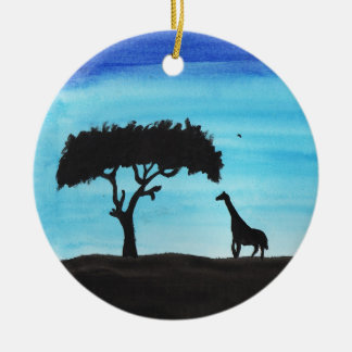 Akazie u. Giraffe Rundes Keramik Ornament