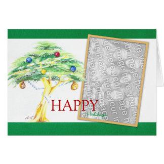 Akazien-Baum mit Weihnachtsverzierungen Karte
