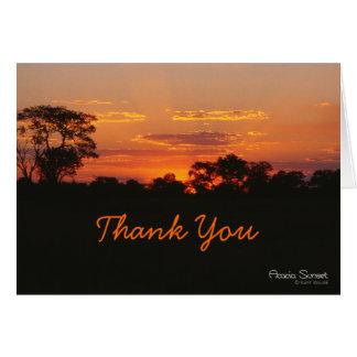 Akazien-Sonnenuntergang danken Ihnen zu kardieren Karte