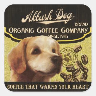 Akbash Hundemarke - Organic Coffee Company Quadratischer Aufkleber