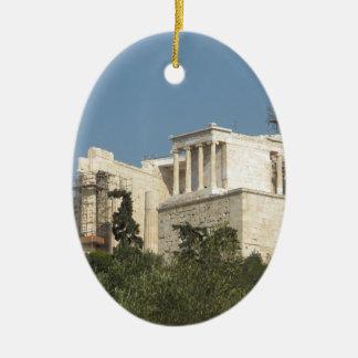 Akropolis von Athen-Architektur von altem Ovales Keramik Ornament