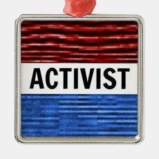 Aktivisten-patriotische Weihnachtsverzierung Quadratisches Silberfarbenes Ornament
