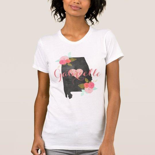 Alabama-Monogramm-StaatWatercolor mit Blumen u. T-Shirt