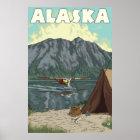 Alaska - Bush-Flugzeug und -fischen Poster