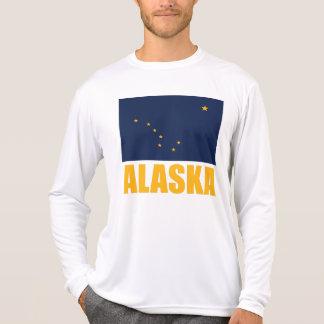 Alaska-Flaggen-gelber Text T-Shirt