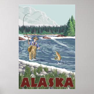 Alaska - Fliegen-Fischer Poster