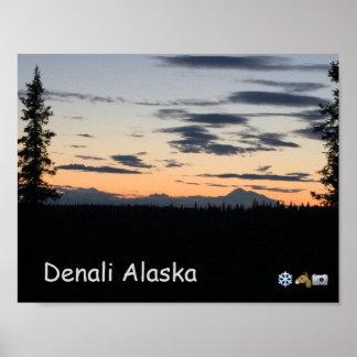 Alaska-Gebirgszug-Sonnenuntergang Poster
