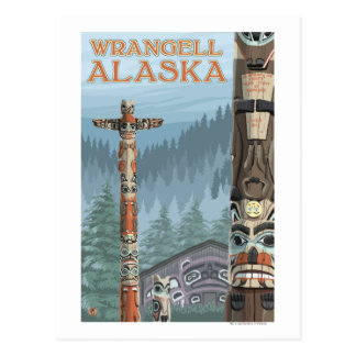 Alaska-Totempfähle - Wrangell Alaska Postkarte