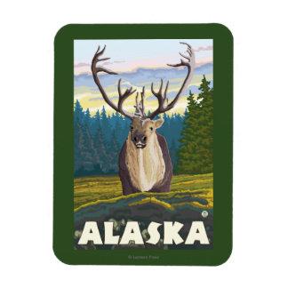 AlaskaCaribou in der wilden Vintagen Reise Flexibler Magnet