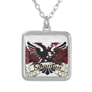 albanischer Adler Halskette Mit Quadratischem Anhänger