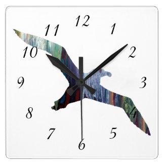Albatros-Tier-Silhouette Quadratische Wanduhr