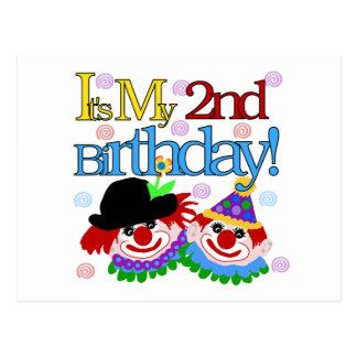 Alberne Clowns-2. Geburtstags-T-Shirts und Postkarte