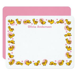 Alberne Duckies rosa Baby-Dusche danken Ihnen zu 10,8 X 14 Cm Einladungskarte