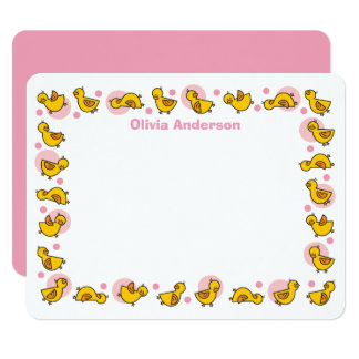 Alberne Duckies rosa Baby-Dusche danken Ihnen zu Karte
