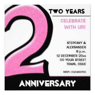 Alberne rosa Jahrestags-Einladung der Nr.-2 Quadratische 13,3 Cm Einladungskarte
