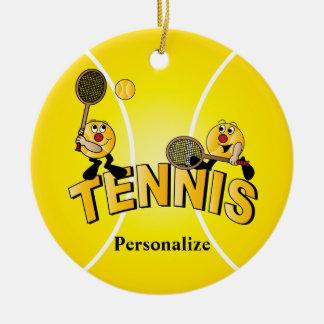 Alberne Tennis-Ball-Spieler | personifizieren Rundes Keramik Ornament