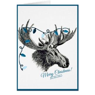 Alberne Weihnachtselche mit blauen Lichtern Grußkarte