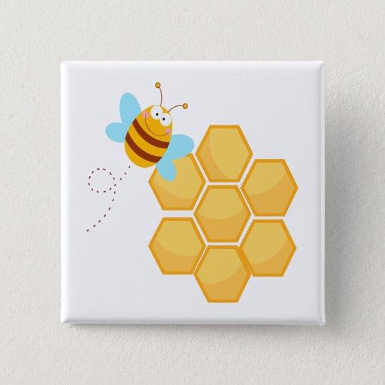 alberner Bienen- und Bienenstockhonigkamm Quadratischer Button 5,1 Cm