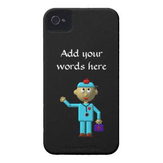 Alberner Doktor mit Apple auf seinem Kopf u. Case-Mate iPhone 4 Hülle