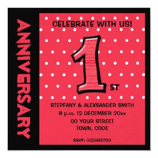 Alberner Rotpunkte Jahrestag der Nr. 1 laden ein Quadratische 13,3 Cm Einladungskarte
