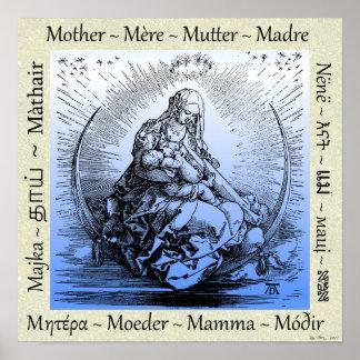 Albrecht Dürermutter u. -kind auf sichelförmigem Poster