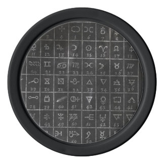 Alchimie-Symbol-schwarze Tafel-Golfball-Markierung Pokerchips