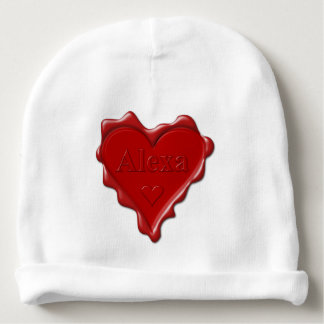 Alexa. Rotes Herzwachs-Siegel mit NamensAlexa Babymütze