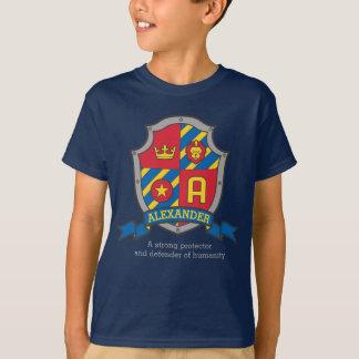 Alexander-Jungen Name u. Bedeutungsritterschild T-Shirt