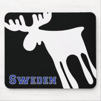 Älg / Moose, vit, Sweden Mauspads