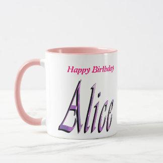 Alice, alles Gute zum Geburtstag, rosa kombinierte Tasse