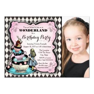 Alice en fête d'anniversaire du pays des carton d'invitation  11,43 cm x 15,87 cm