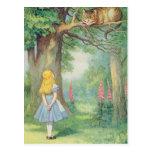 Alice et le chat de Cheshire Carte Postale