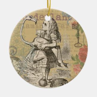 Alice im Wunderland-Flamingo Rundes Keramik Ornament