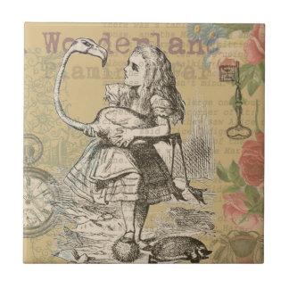 Alice im Wunderland-Flamingo Vintag Kleine Quadratische Fliese