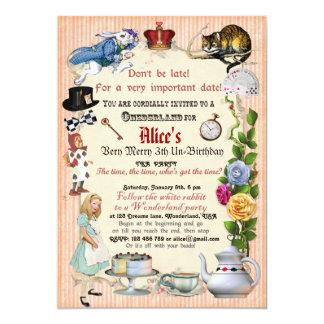 Alice im Wunderland-Geburtstags-Party Einladung