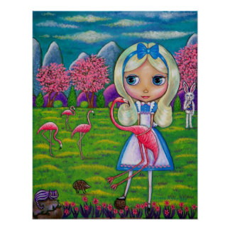 Alice im Wunderland-u. Flamingo-Kaninchen-Igel Poster