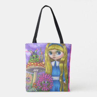 Alice im Wunderland u. Raupe u. Blumen niedlich Tasche
