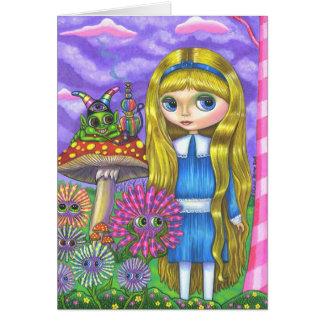 Alice im Wunderland und die Raupe Karte