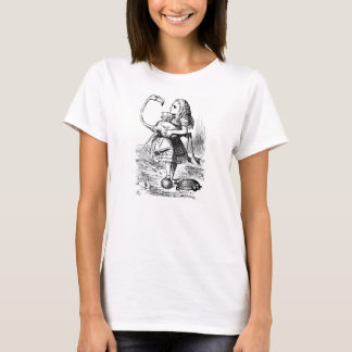 Alice im Wunderlandflamingo-Illustrations-T - T-Shirt