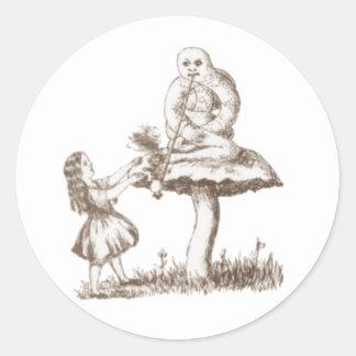 Alice u. die Raupe durch Lewis Carroll Runder Aufkleber
