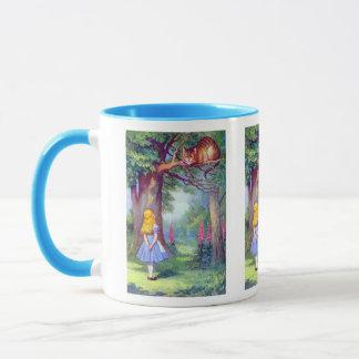 Alice und die Cheshire-Katze farbenreich Tasse