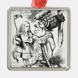 Alice und die rote Königin Silbernes Ornament