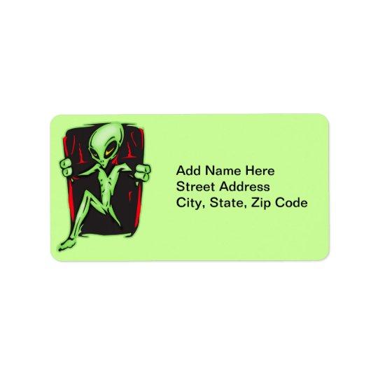Alien dringt Ihr Zuhause ein Adressaufkleber