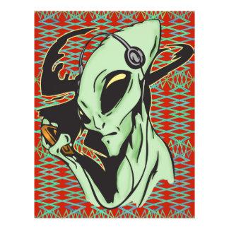 Alien verdrahtet für Musik 21,6 X 27,9 Cm Flyer