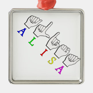 ALISA FINGERSPELLED ASL NAMENSzeichen Quadratisches Silberfarbenes Ornament