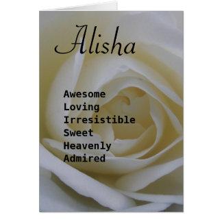 Alisha weiße Rosennamengedicht-Grußkarte Karte