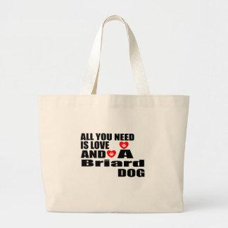 Alle benötigen Sie Liebe Briard Hundeentwürfe Jumbo Stoffbeutel