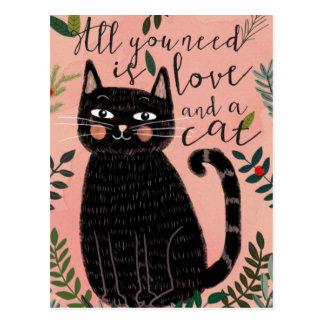 Alle, die Sie benötigen, ist Liebe… Und eine Katze Postkarte