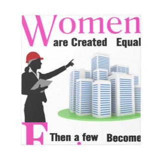 Alle Frauen sind geschaffenes Gleichgestelltes, Notizblock